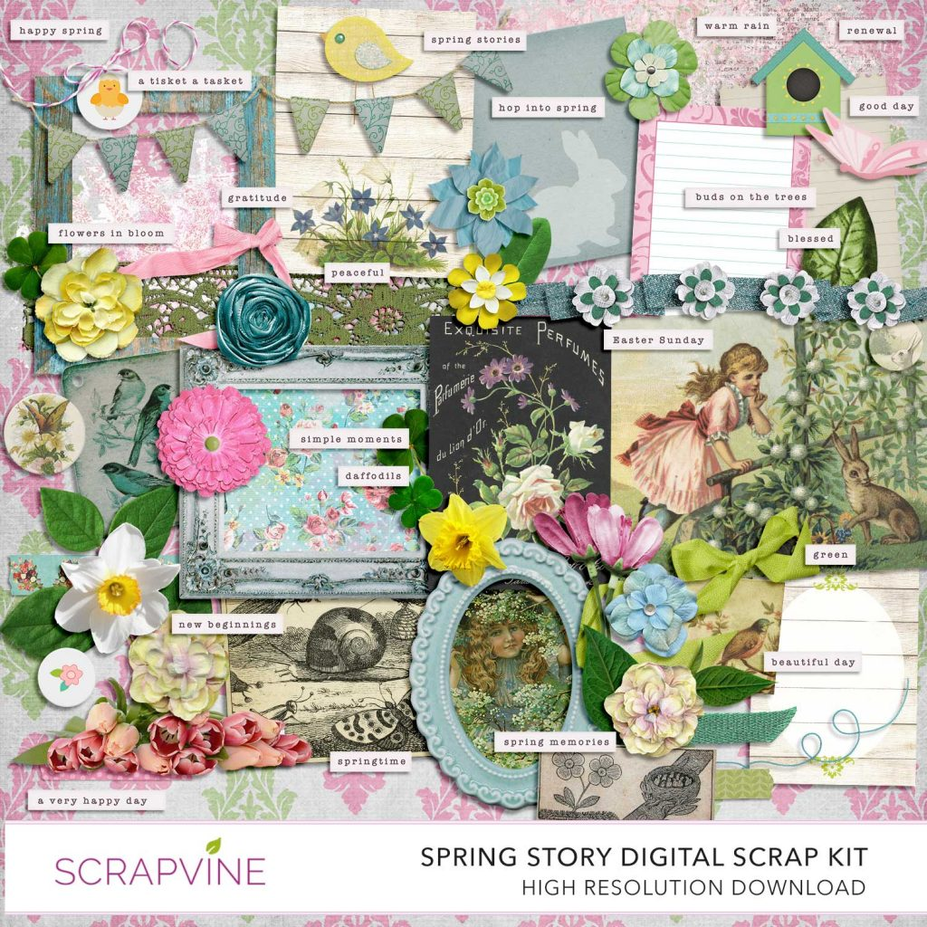 spring story digital scrapbooking kit