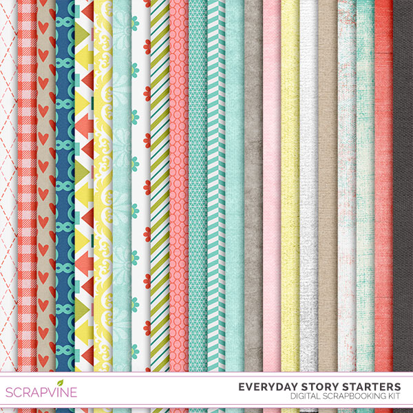 free everyday story starters digital scrapbook papers