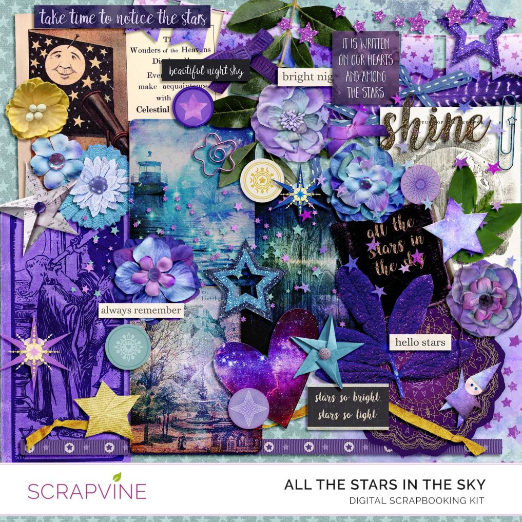 All The Stars Digital Scrapbooking Kit Free Printable Graphics Scrapvine