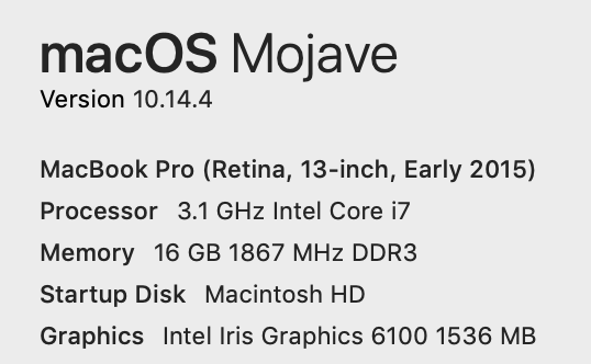 screenshot of MacBook Pro Information